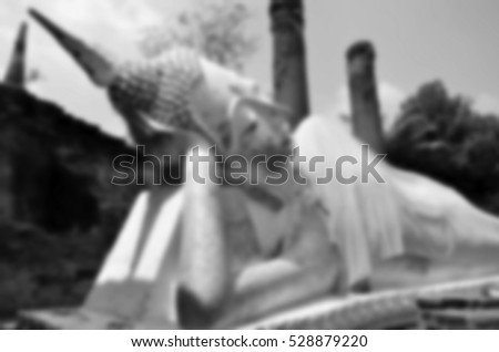 Blurred abstract background of  Sleep Buddha at Autthaya Thailand