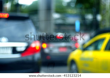 Blurred abstract background of Traffic in Bangkok, Thailand