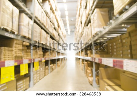 Blurred abstract background of warehouse