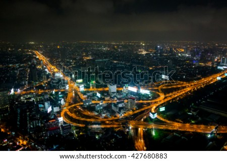 Blurred abstract  bokeh of lights from cityscape background