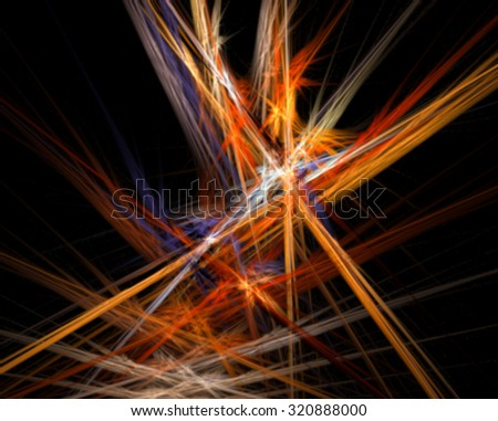 blurred abstract bright colorful flash fractal element on a black background for art projects