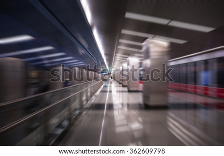 Blurred abstract view of metro station in Moscow