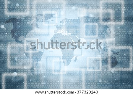 Blurred abstract world map with binary numbers background. Bright blue color used.