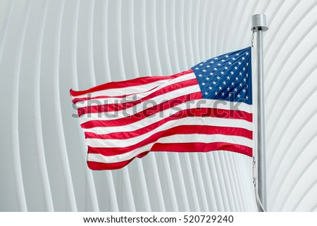 Blurred American flag waving