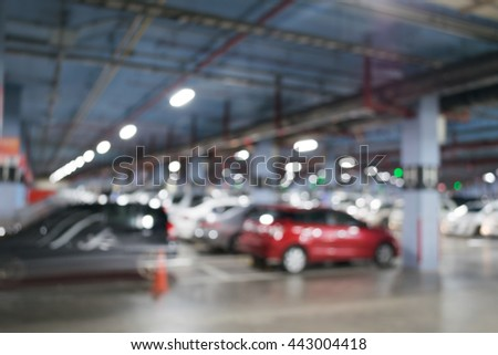 Blurred and bokeh background: parkade.