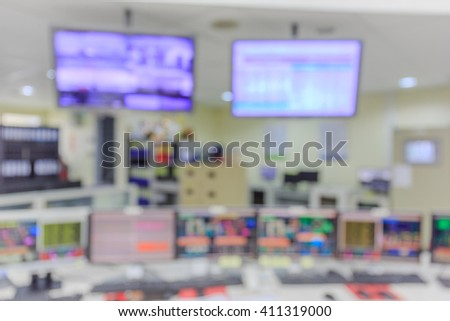 Blurred and de-focus control room of port management