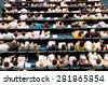 blurred audience at economical forum in hall - stock photo