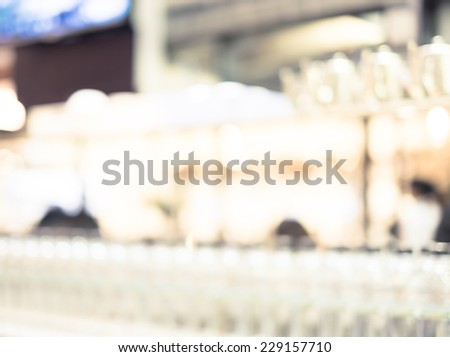 Blurred background : Bokeh at food counter restaurant  - stock photo