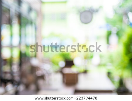 Blurred background : Coffee shop blur background with bokeh - stock photo