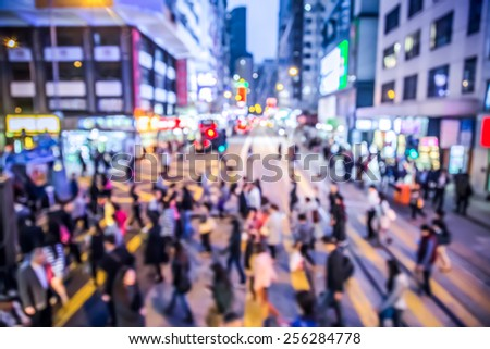 Blurred background crowded people in Hong Kong city - take place in WanChai  district  - stock photo