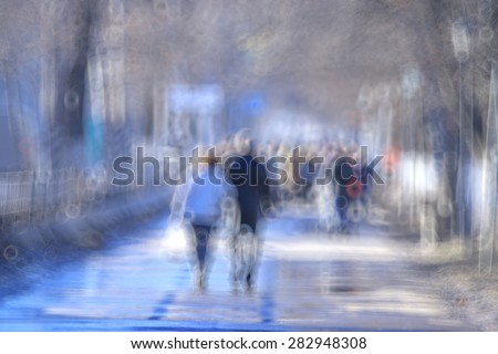 blurred background defocusing city people crowd - stock photo