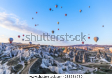 Blurred background : hot air Balloon, Cappadocia, Turkey - stock photo