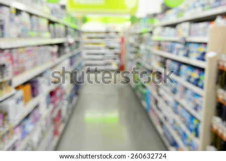 Blurred background image of shelves of items for sale inside of a retail store. - stock photo