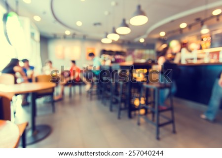 Blurred background made with Vintage Tones,Coffee shop blur background with bokeh  - stock photo