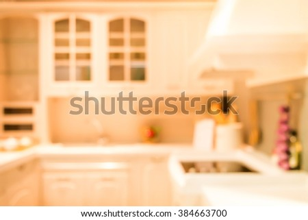 Blurred background,Modern kitchen with bokeh light, vintage filter - stock photo