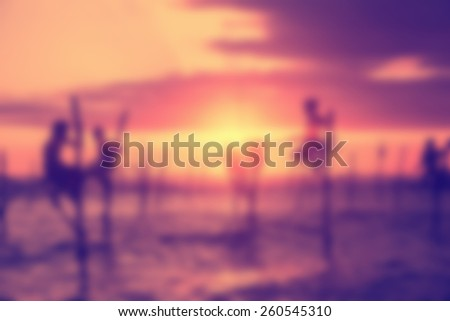 Blurred background of a sri lanka fishing people in the morning - stock photo