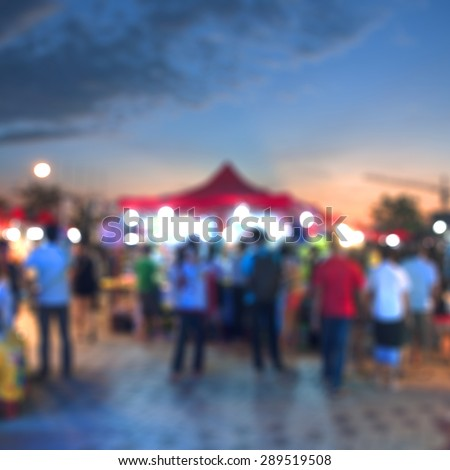 Blurred background of asian local market - stock photo