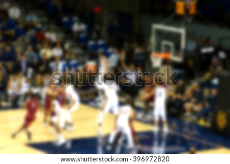 blurred background of basketball game               - stock photo