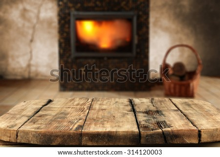 blurred background of fireplace and dirty table