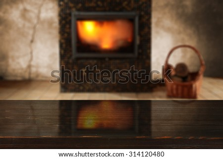 blurred background of fireplace and place for your decoration