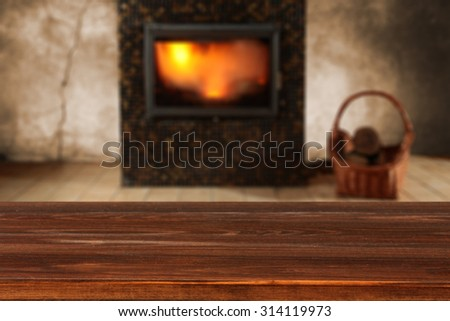 blurred background of fireplace and shelf