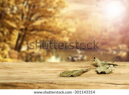 blurred background of golden autumn landscape and dark green color of leaves and wooden desk space  - stock photo