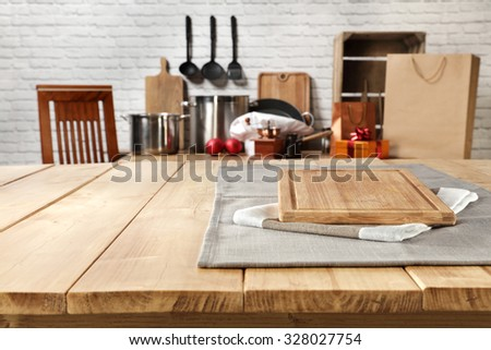 blurred background of kitchen and kitchen desk space