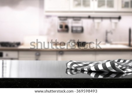 blurred background of kitchen and napkin space and brake space