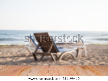 Blurred background of of the sea and the beach - stock photo