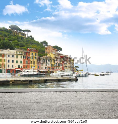 blurred background of Portofino port and space for your decoration of street or terrace  - stock photo