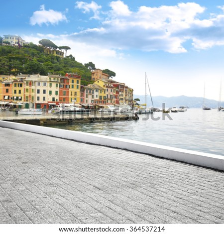 blurred background of Portofino port and street  - stock photo