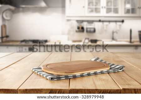 blurred background of retro kitchen with kitchen desk napkin and space for you  - stock photo