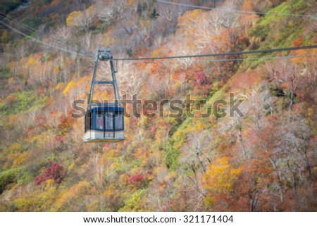 blurred background of Rope way,cable car at Tateyama japan alps.