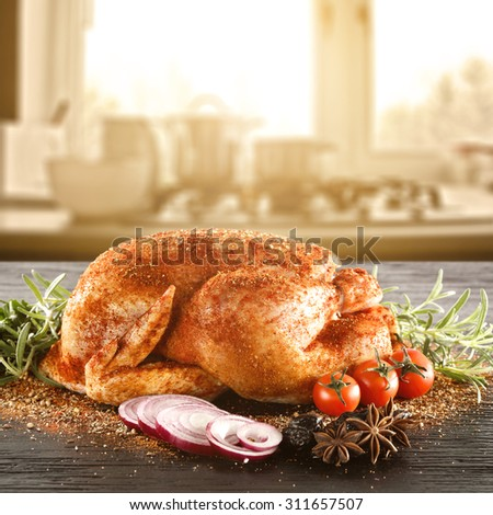 blurred background of window and sunlight with chicken