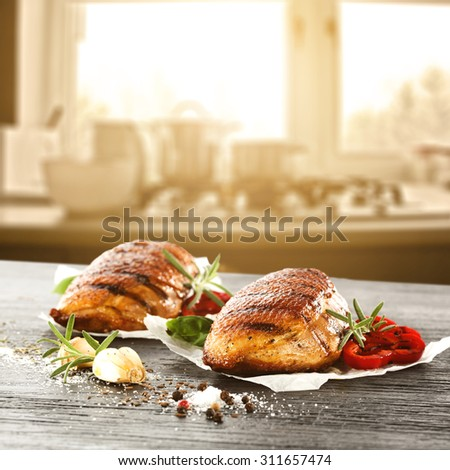 blurred background of window and sunlight with hot duck and vegetables