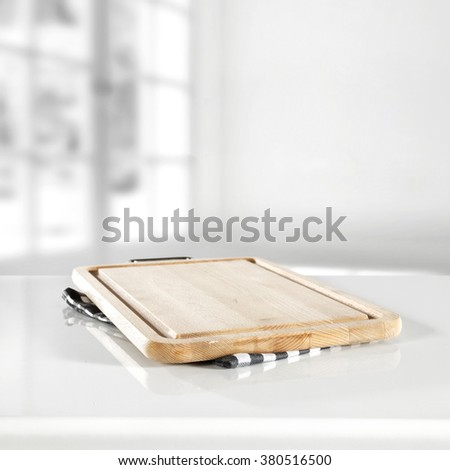blurred background of window space and yellow top place for your food