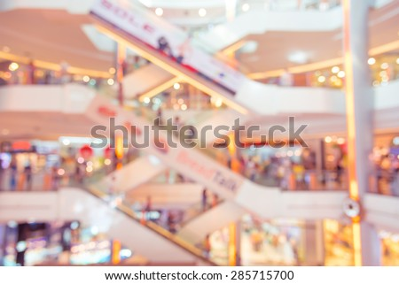 Blurred background : people shopping at mall in the big sale event, blur background with bokeh - stock photo