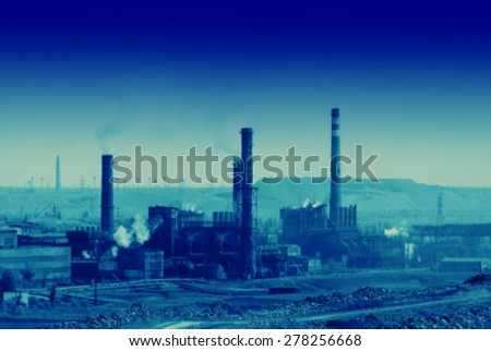 blurred background plant for iron ore beneficiation - stock photo
