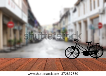 Blurred background sights  Penang  silhouette old bike - stock photo
