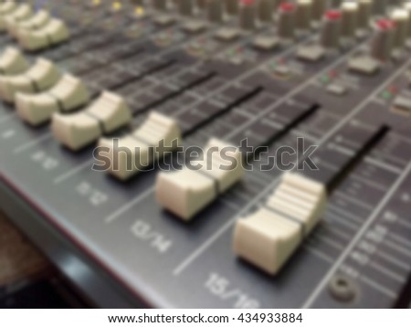 Blurred background : Sound music controller Electric Mixer Recording Studio Audio Equipment Digital Recorder