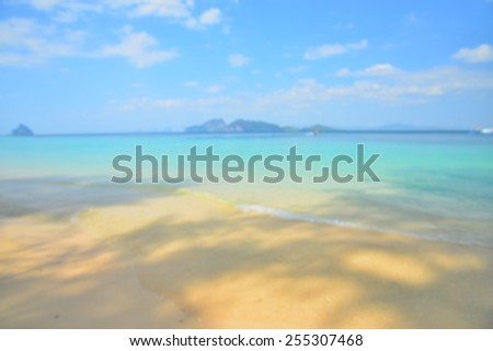 Blurred Background: Summer Beach on Paradise Island - stock photo