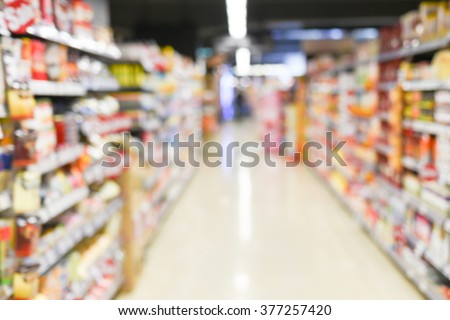 blurred background - supermarket - stock photo