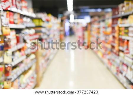 blurred background - supermarket - stock photo