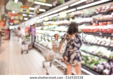 blurred background supermarket and people