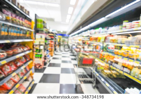 blurred background -  supermarket  - product shelf - business concept