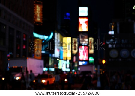Blurred background - Times Square at night, New York City, United States - stock photo