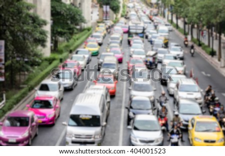 Blurred background, Traffic jam in Bangkok, Thailand.