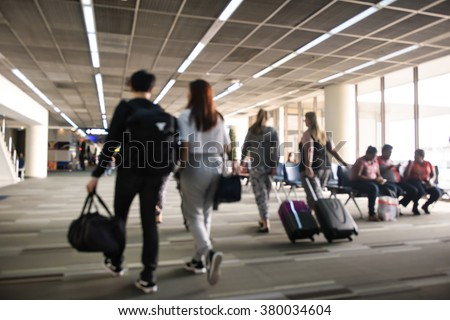 Blurred background : Traveler at airport terminal blur background - stock photo
