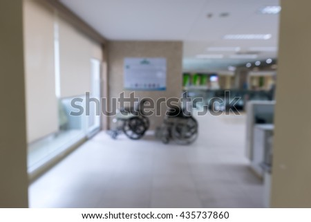 Blurred background: wheelchair of hospital. abstract background.