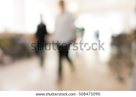Blurred background with a hospital corridor